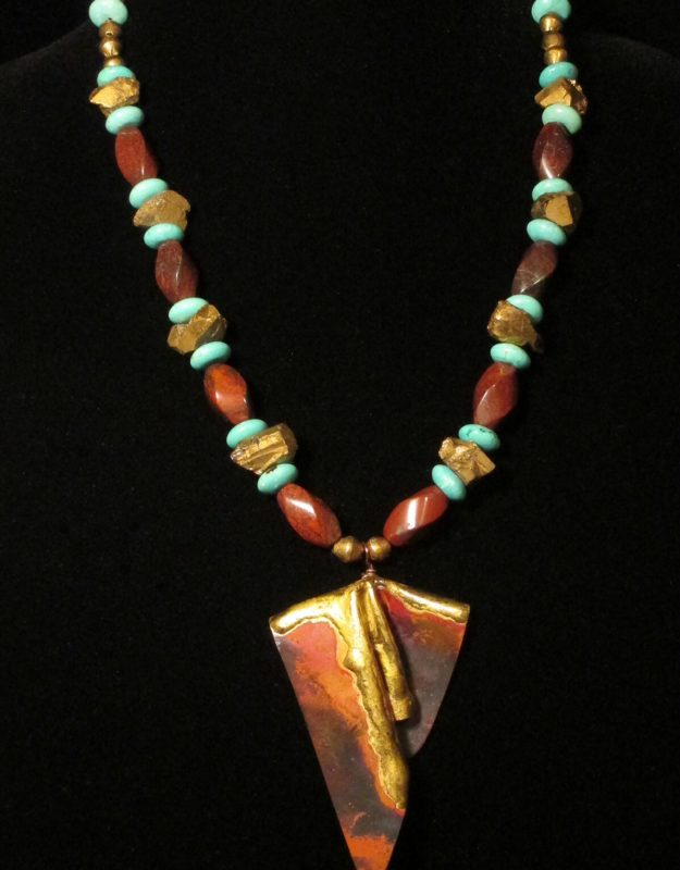 Liknda Adkins_Flaming Copper with Gold Trim Necklace